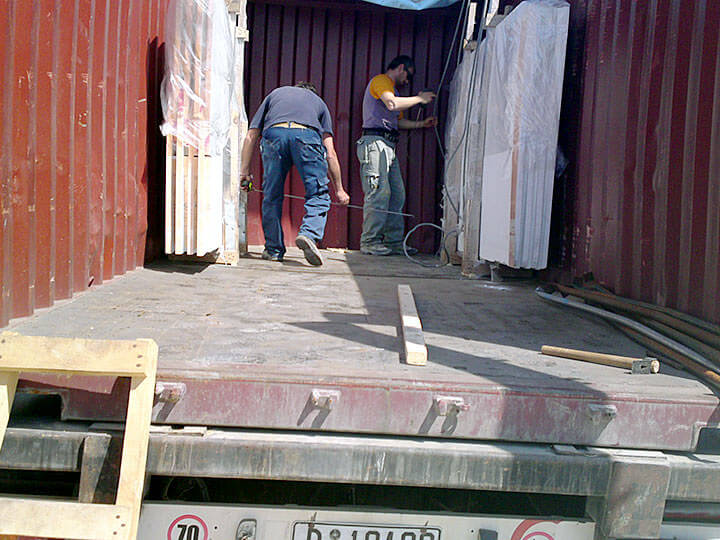 Petalco transportation marine marble loaded in a container