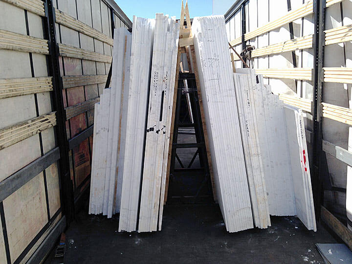 Petalco transportation road marble slabs loaded